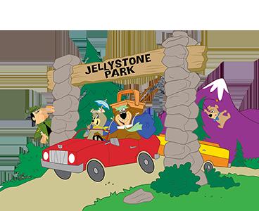 yogi bear™, boo boo™, cindy bear™, ranger smith™ in a car leaving jellystone park™
