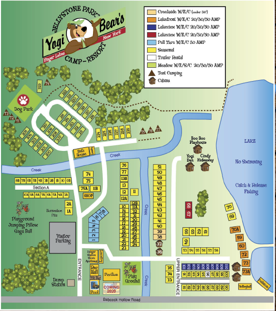 finger lakes jellystone park™ campground map