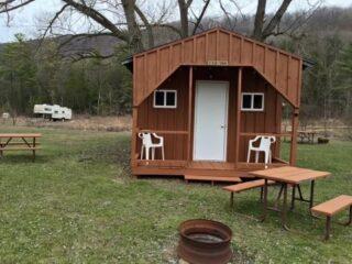 yogi bear™ rustic cabin exterior